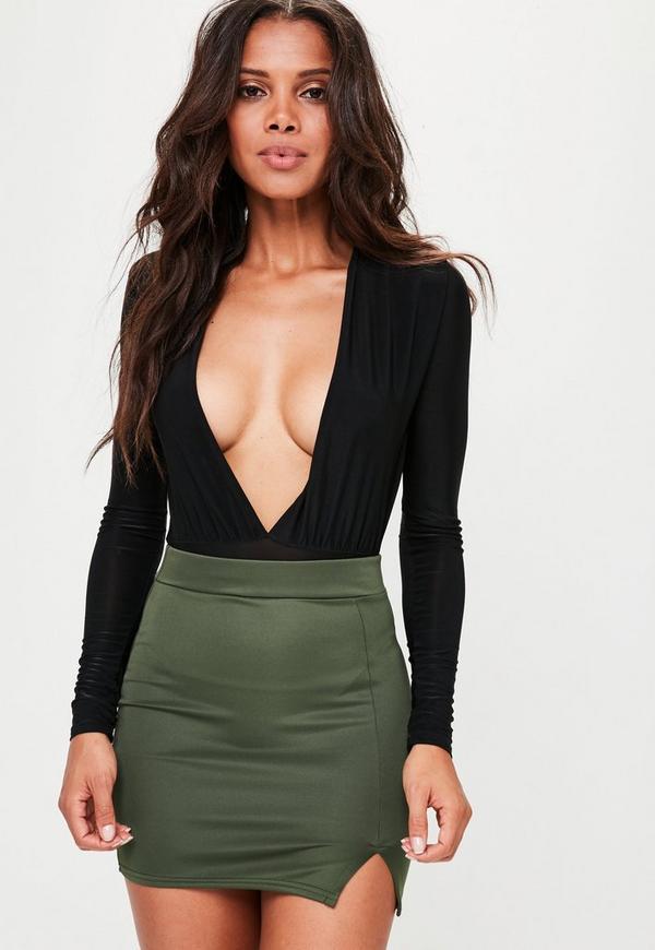 Green Scuba Split Mini Skirt
