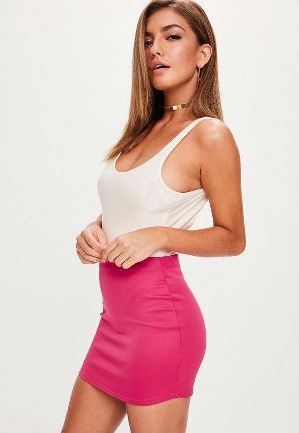 Pink Scuba Curve Hem Mini Skirt