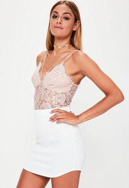 White Ponte Curve Hem Mini Skirt