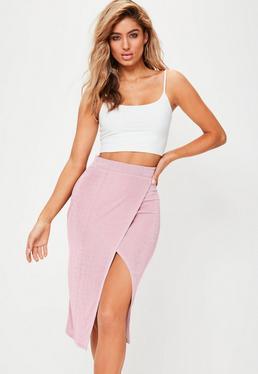 Pink Split Front Slinky Midi Skirt