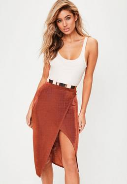 Orange Split Front Slinky Midi Skirt