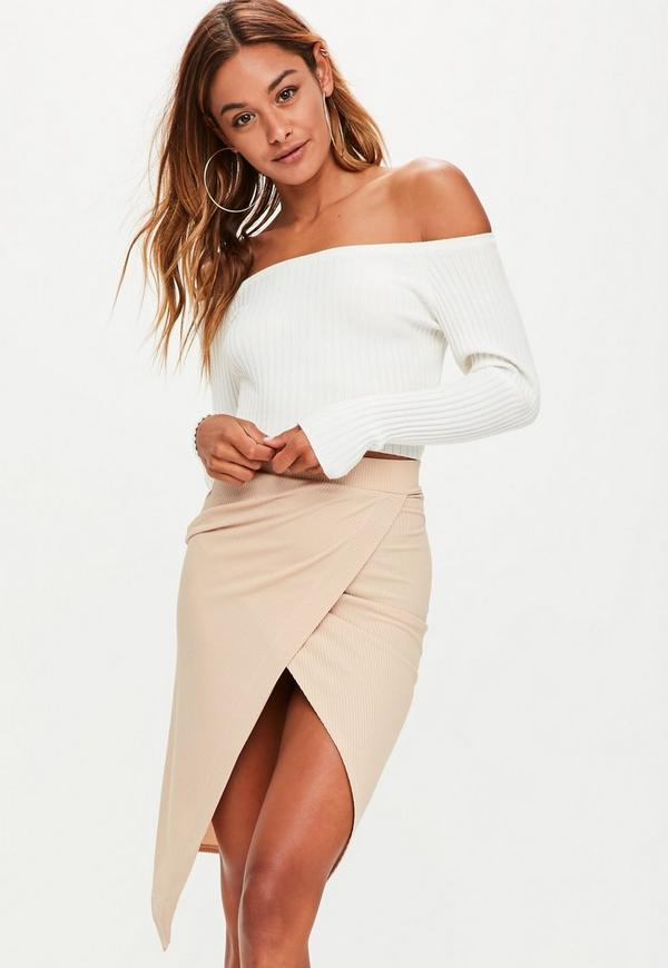 camel wrap ribbed midi skirt missguided