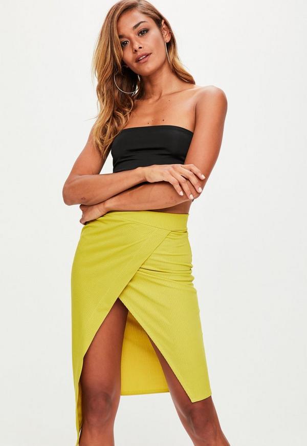 Yellow Wrap Over Ribbed Midi Skirt
