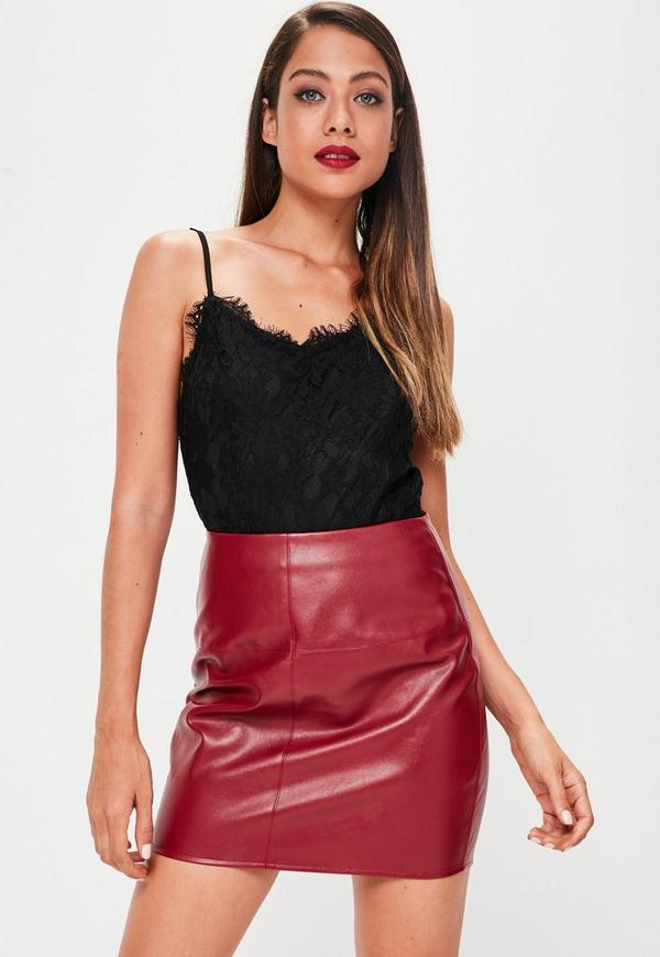 Burgundy Faux Leather Mini Skirt | Missguided