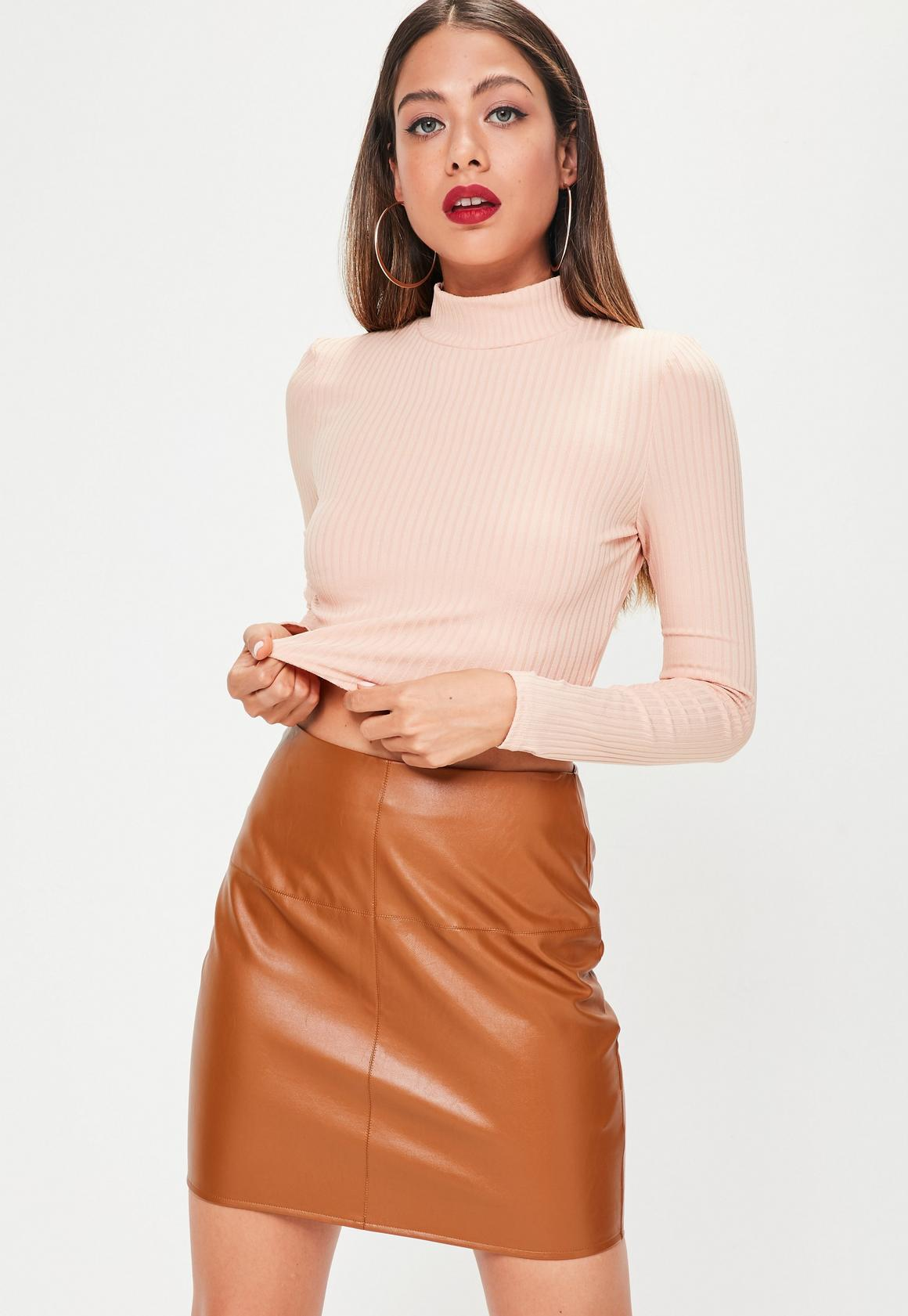 Tan Faux Leather Mini Skirt | Missguided