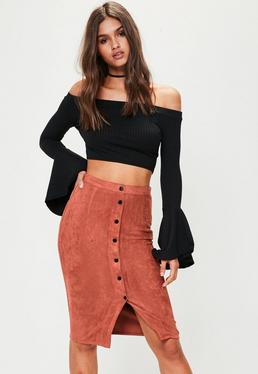 Brown Faux Suede Midi Skirt