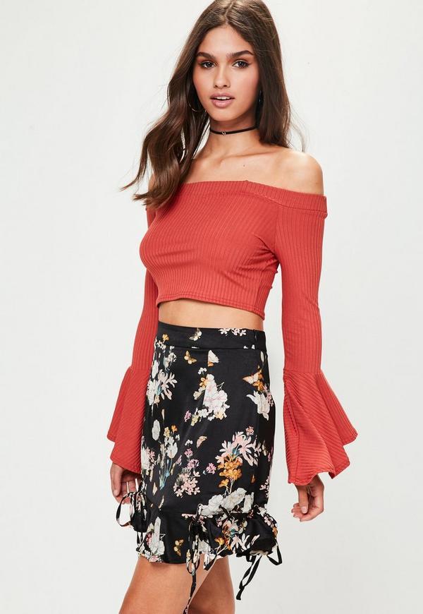 Black Lace Up Frill Hem Mini Skirt