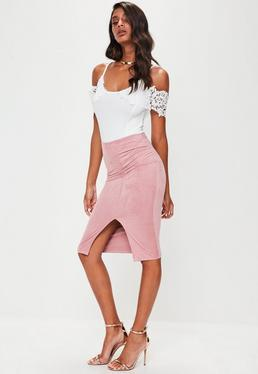 Pink Faux Suede Midi Skirt
