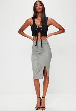 Khaki Faux Suede Midi Skirt
