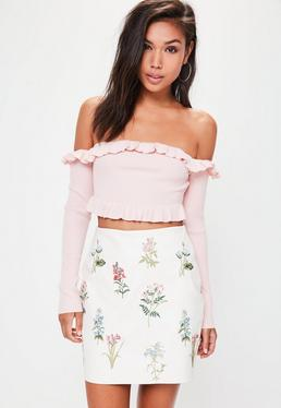 White Embroidered Faux Leather Mini Skirt