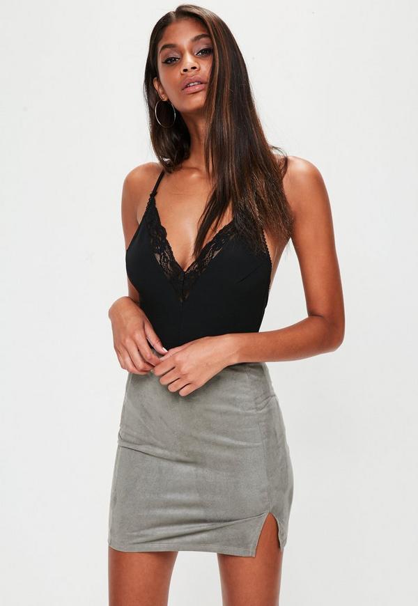 Khaki Faux Suede Split Side Mini Skirt