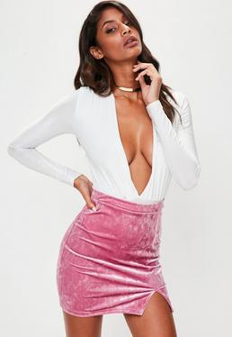 Pink Velvet Split Side Mini Skirt