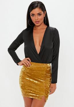 Yellow Velvet Split Side Mini Skirt