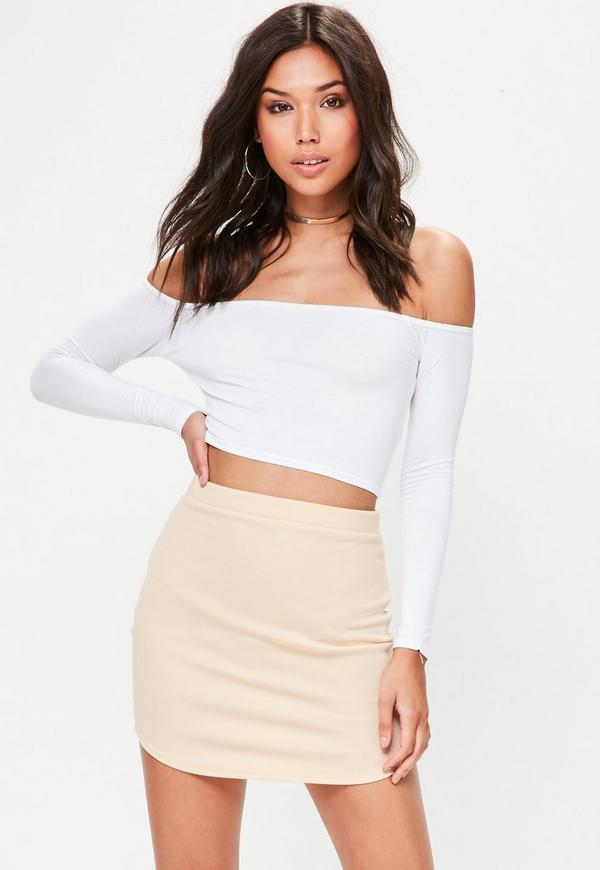 Nude Ponte Curve Hem Mini Skirt