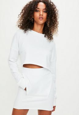Londunn + Missguided White Raw Edge Sweat Skirt