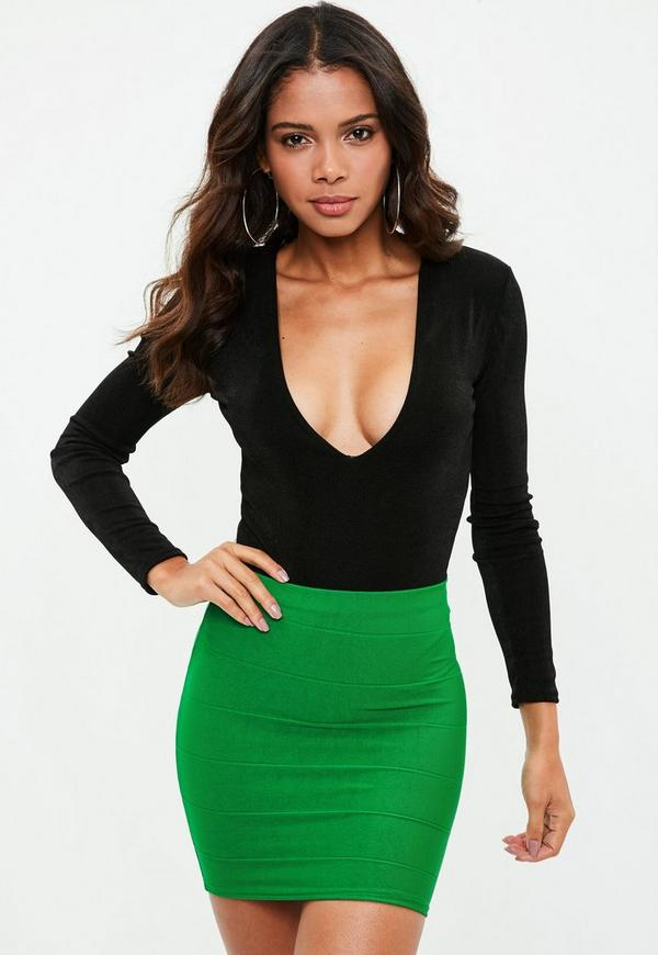 Green Bandage Mini Skirt