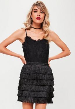 Black Tiered Fringe Mini Skirt