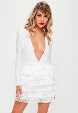 White Tiered Fringe Mini Skirt