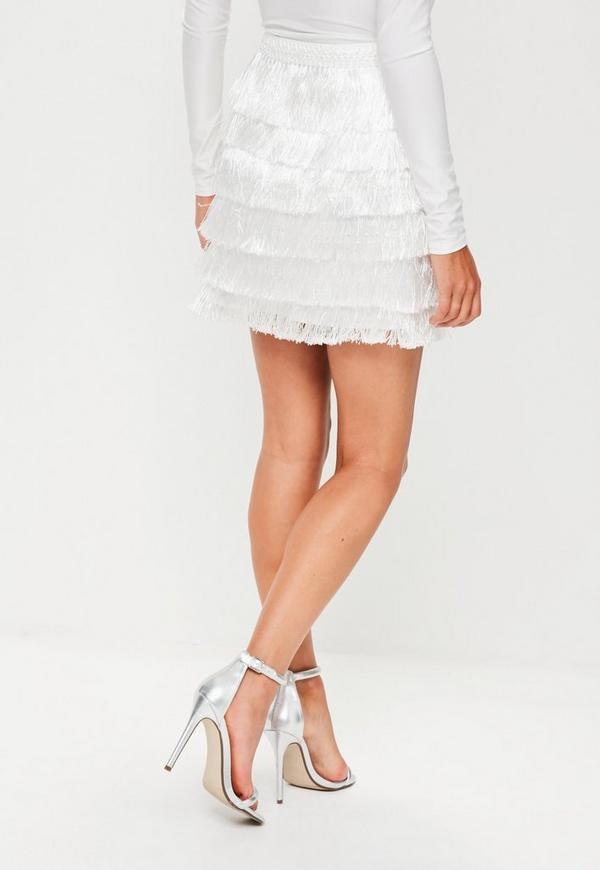White Tiered Fringe Mini Skirt Missguided