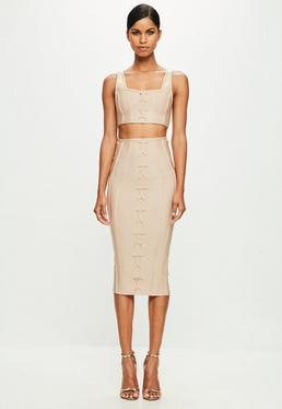 Peace + Love Nude Criss Cross Bandage Midi Skirt