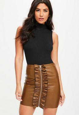 Tan Zip Through Faux Leather Mini Skirt