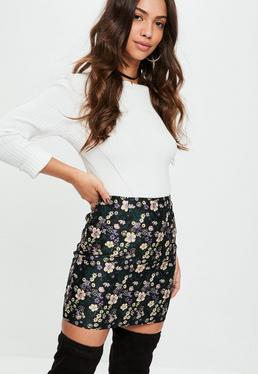 Black Floral Jacquard Mini Skirt