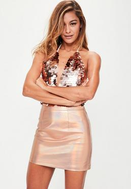 Rose Gold Metallic Mini Skirt
