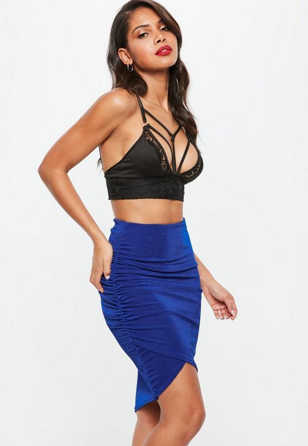 Blue Slinky Ruched Side Midi Skirt
