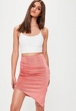 Pink Slinky Ruched Side Midi Skirt