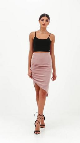 Nude Slinky Ruched Side Midi Skirt