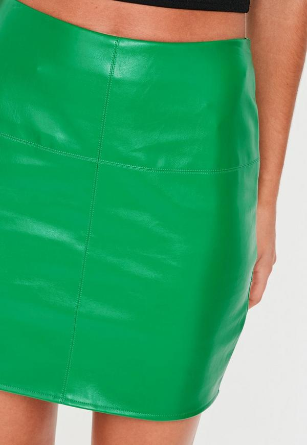green faux leather mini skirt missguided ireland