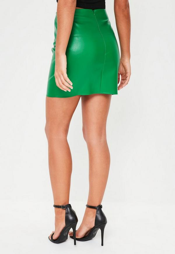green faux leather mini skirt missguided