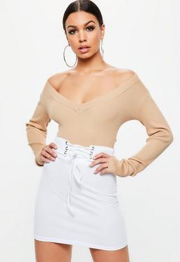 White Ribbed Lace Up Waist Mini Skirt