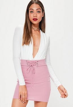 Pink Ribbed Lace Up Waist Mini Skirt