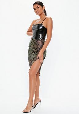 Black Lace Overlay Midi Skirt