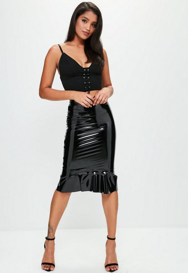 black vinyl frill hem midi skirt missguided