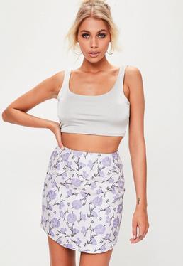 Purple Jacquard Mini Skirt