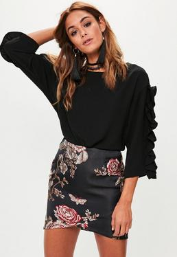 Black Jaquard Asymmetric Skirt