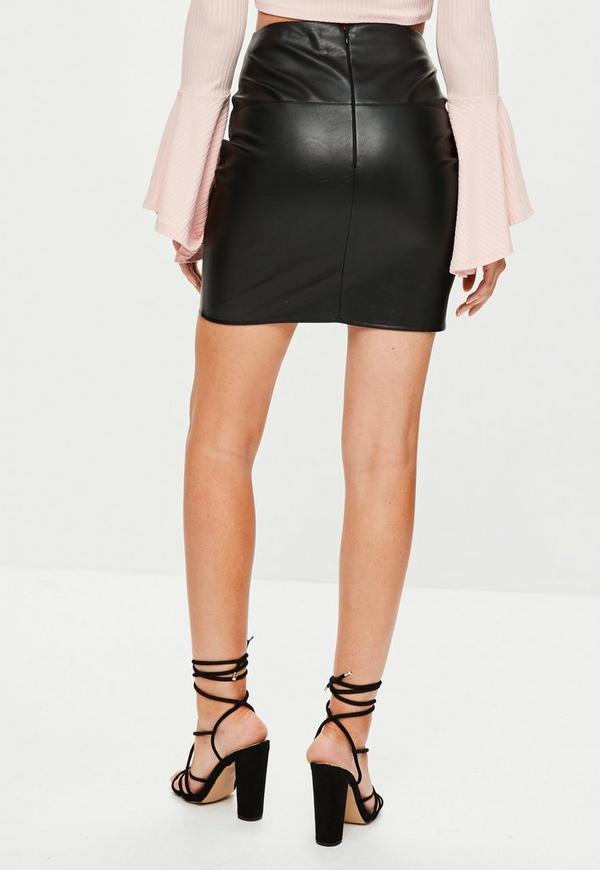 black applique faux leather mini skirt missguided