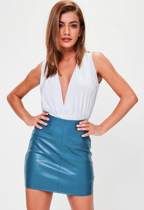Blue Faux Leather Mini Skirt Missguided