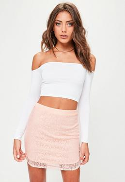 Nude Lace Curve Hem Mini Skirt