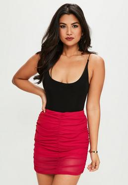 Red Ruched Mini Skirt
