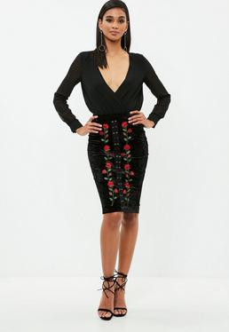 Black Lace Up Velvet Midi Skirt