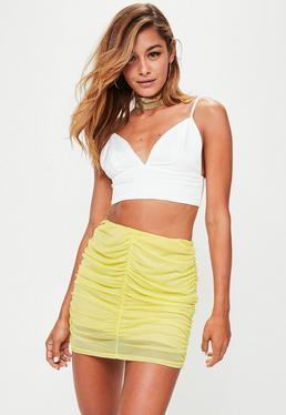 Yellow Mesh Ruched Mini Skirt