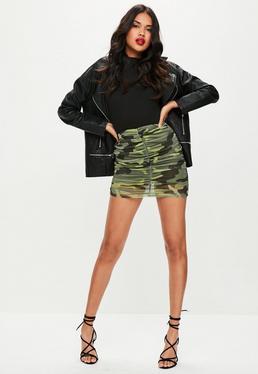 Khaki Camo Ruched Mesh Mini Skirt
