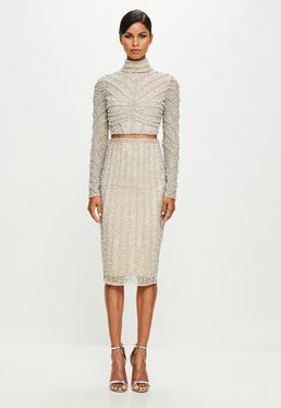 Peace + Love Nude Embellished Midi Skirt