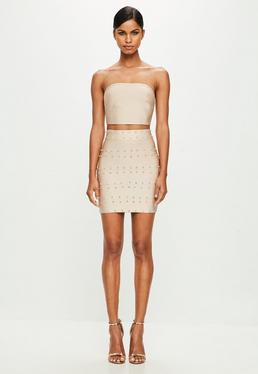 Peace + Love Nude Diamante Stud Bandage Mini Skirt