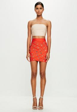 Peace + Love Orange Bandage Mesh Mini Skirt