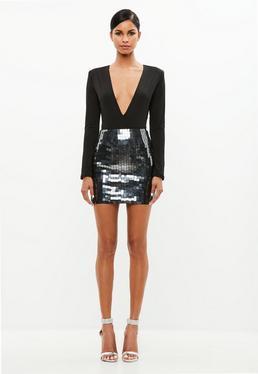 Peace + Love Black Mirror Embellished Skirt