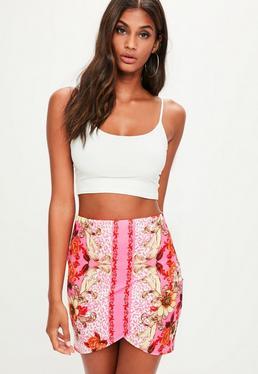 Pink Floral Print Wrap Scuba Mini Skirt